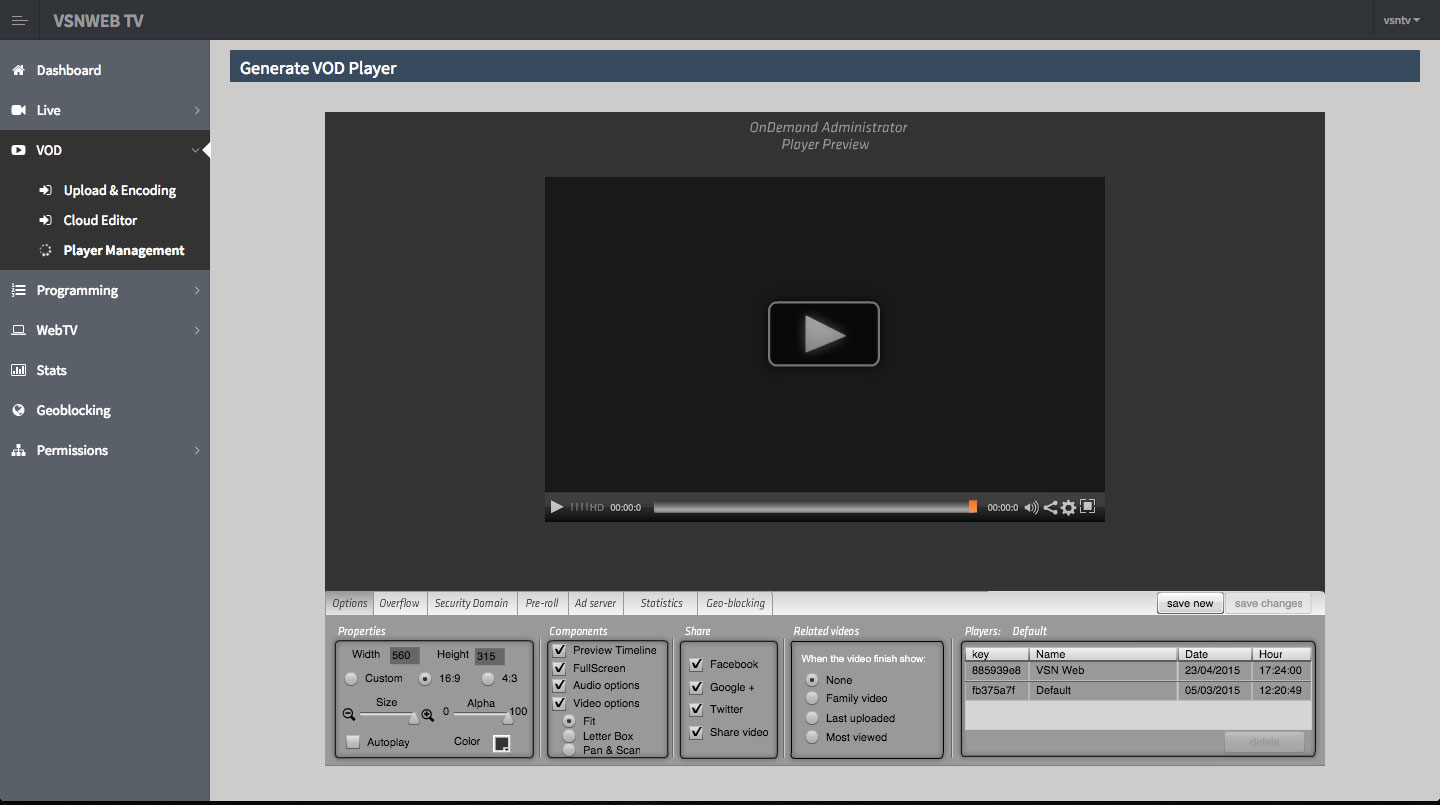 VSNWEB TV generate Video on demand player