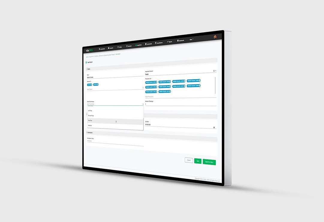 Interfaz del nuevo módulo de adquisiciones de contenido en VSNCrea